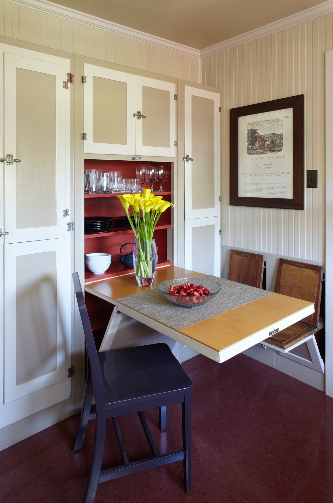 Small Dining Room With Fold Down Dining Table And Chairs Near Cabinet - 43+ Small Space Up And Down House Design Gif
