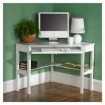 Small White Corner Desk With Keyboard Shelf And Tray Books Shelf