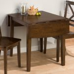 Small And Narrow Drop Leaf Table In Dark Brown Coat Two Units Wooden Chairs With Similar Coat Tone Color