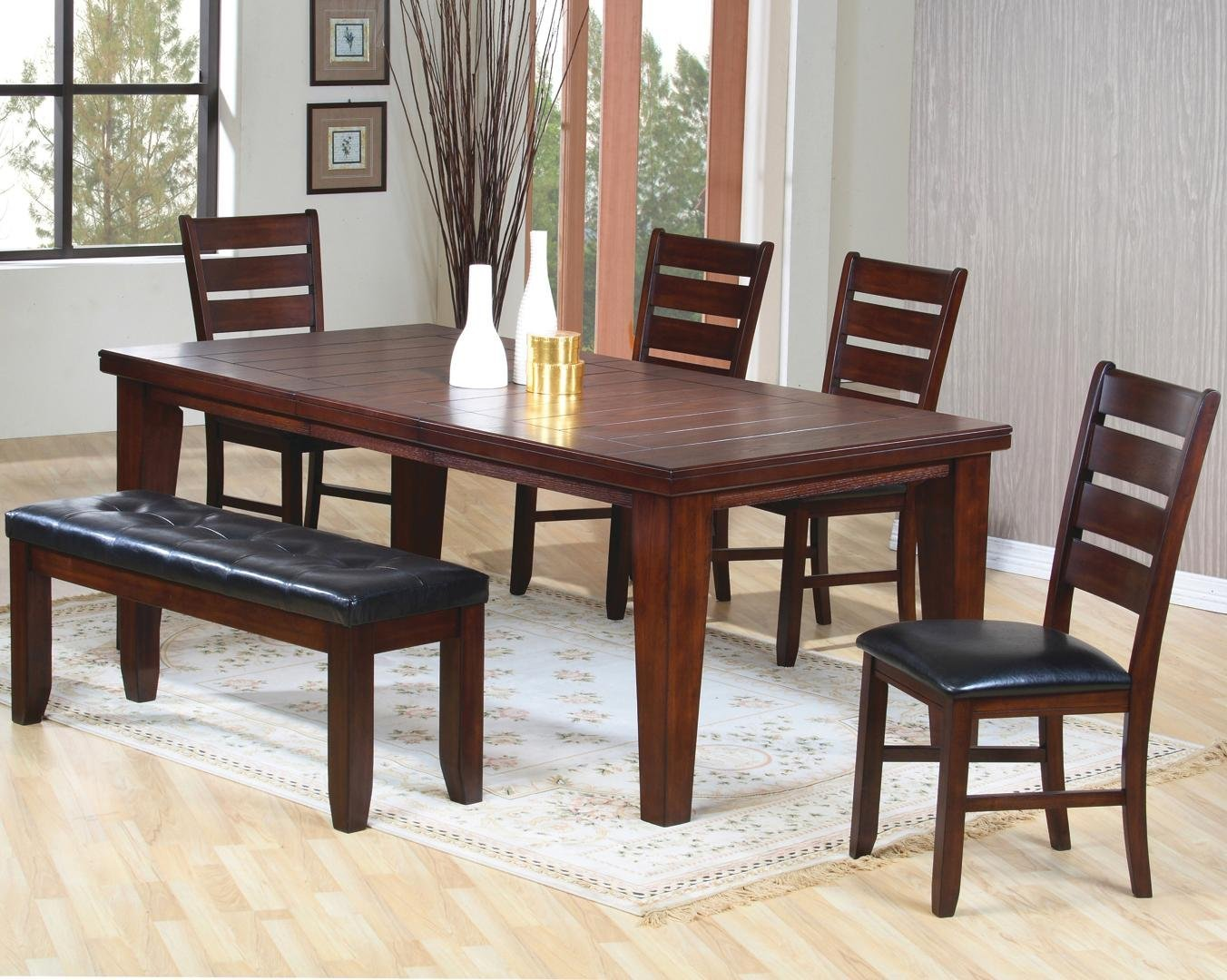 Solid Dark Dining Room Table With Chairs And Bench On Stylidh Rug
