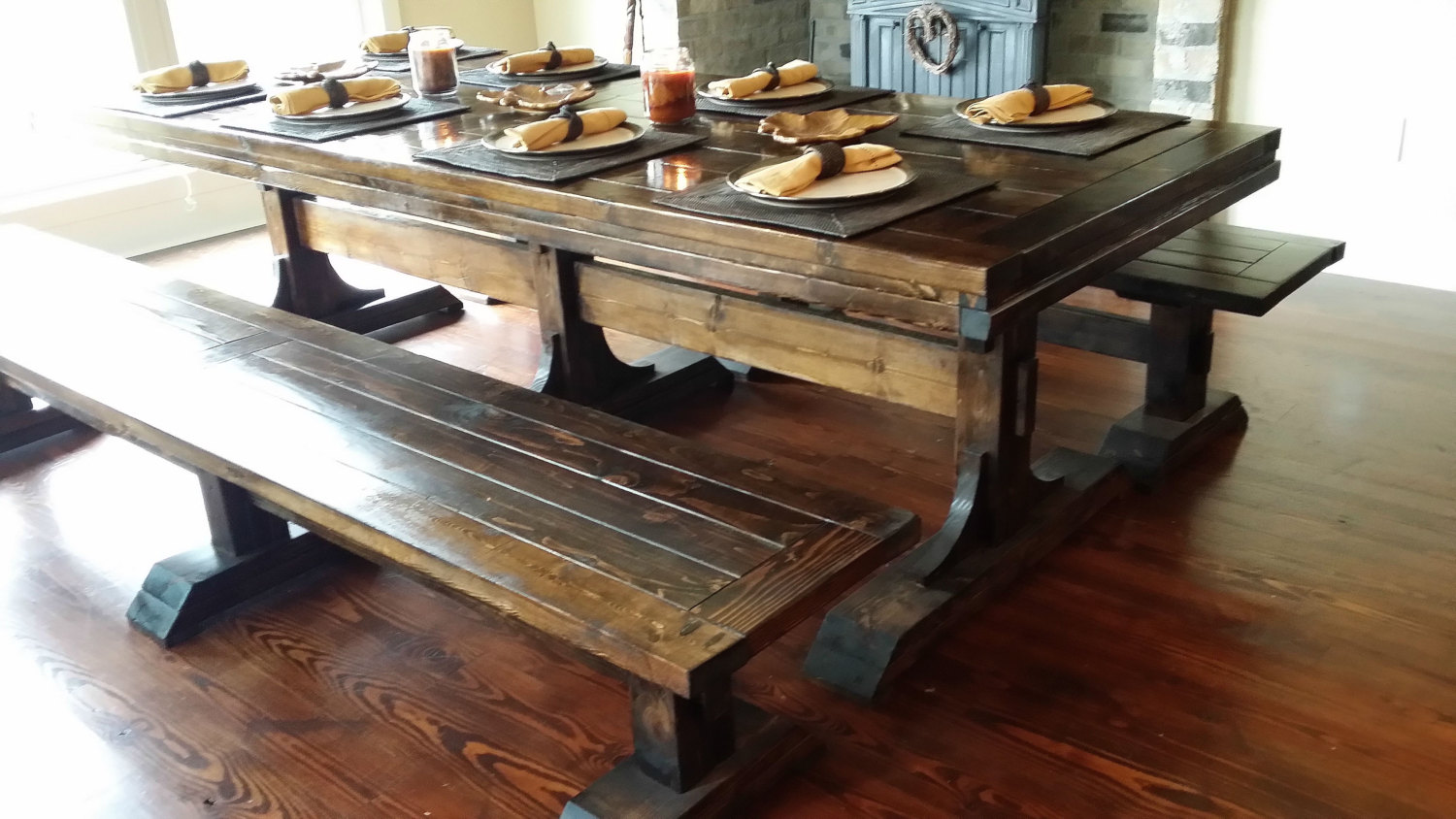 Solid Long Real Wood Dining Table With Benches