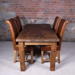 Solid Real Wood Dining Table With Leather Slipper Chairs