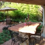 Stone Patio Tables With Large Rectangular Size For Home Outdoor With The Chairs
