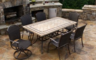 Stone Rectangular Patio Tables With Six Chairs With Different Styles Near Outdoor Stone Fireplace