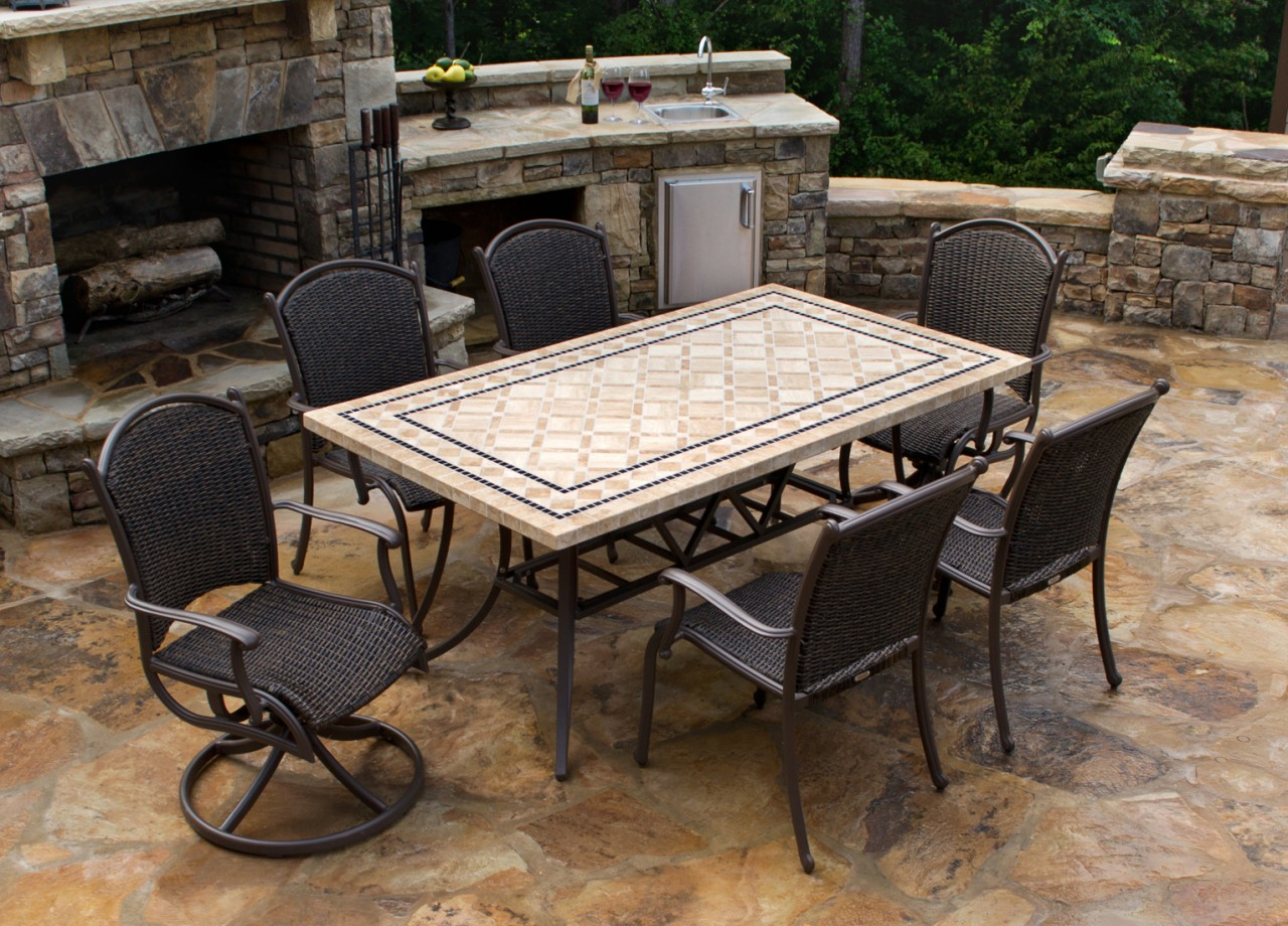 Nice Stone Rectangular Patio Tables With Six Chairs With Different Styles Near Outdoor  Stone Fireplace