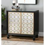 Stylish Dark Wooden Mirrored Console Cabinet