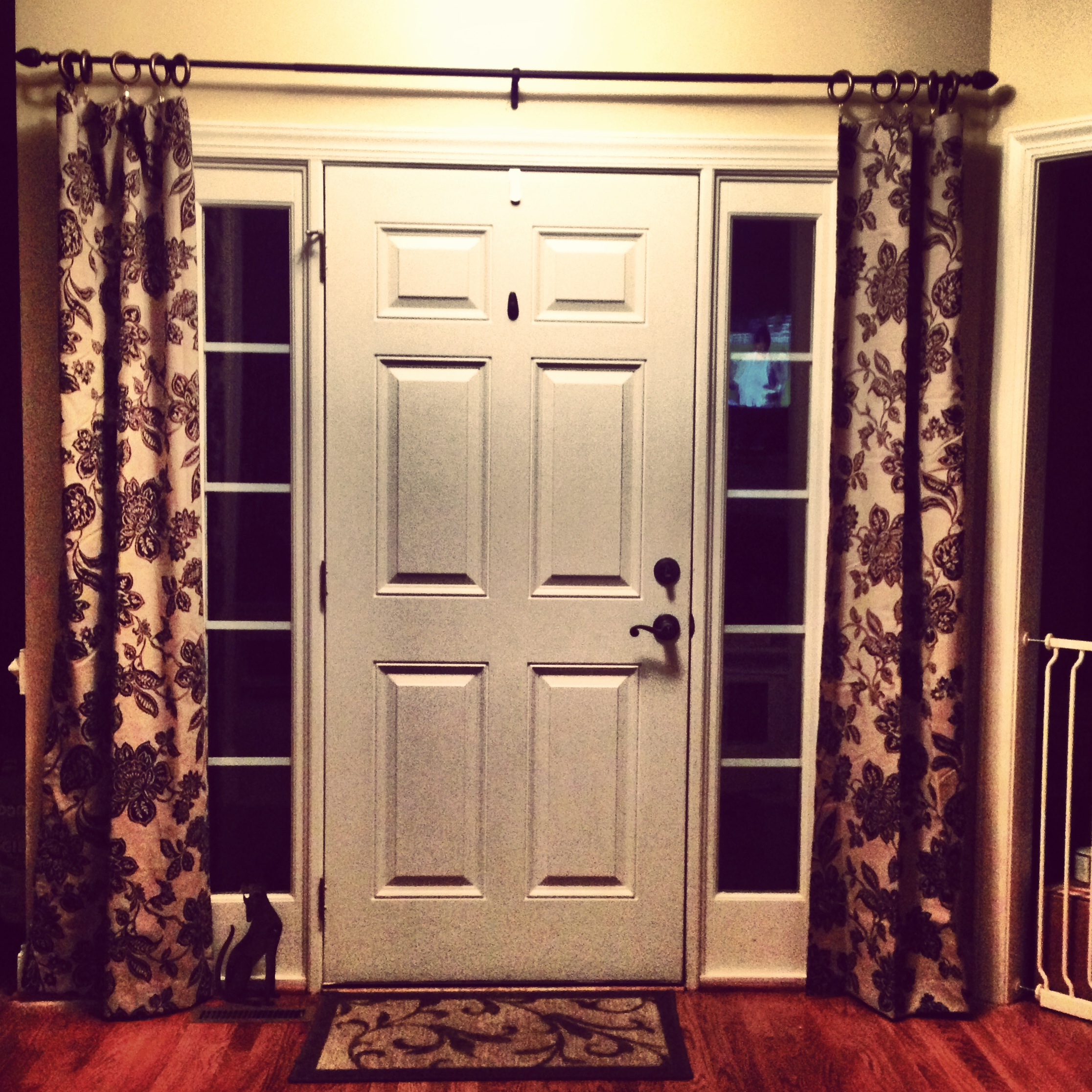 Stylish Pattern Of Sidelight Window Curtains On WHite Door