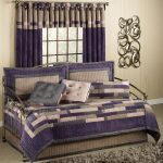 Stylish Purple And White Color Of Day Bed Covers With Curtain