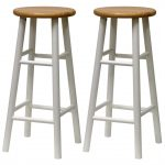 Tall Round White Wood Bar Stools