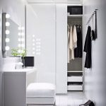 Traditional Mirror Light With Closet Lighting Fixtures And White Theme