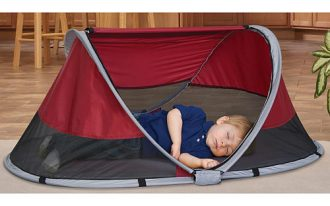 Travel bed idea with camping tent for kids