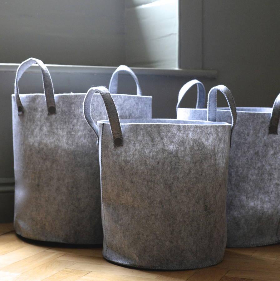 Triple Grey Felt Storage Bin Baskets