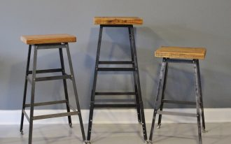 Triple Rectangular On Top Industrial Style Bar Stools