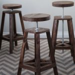 Triple Wooden Industrial Style Bar Stools