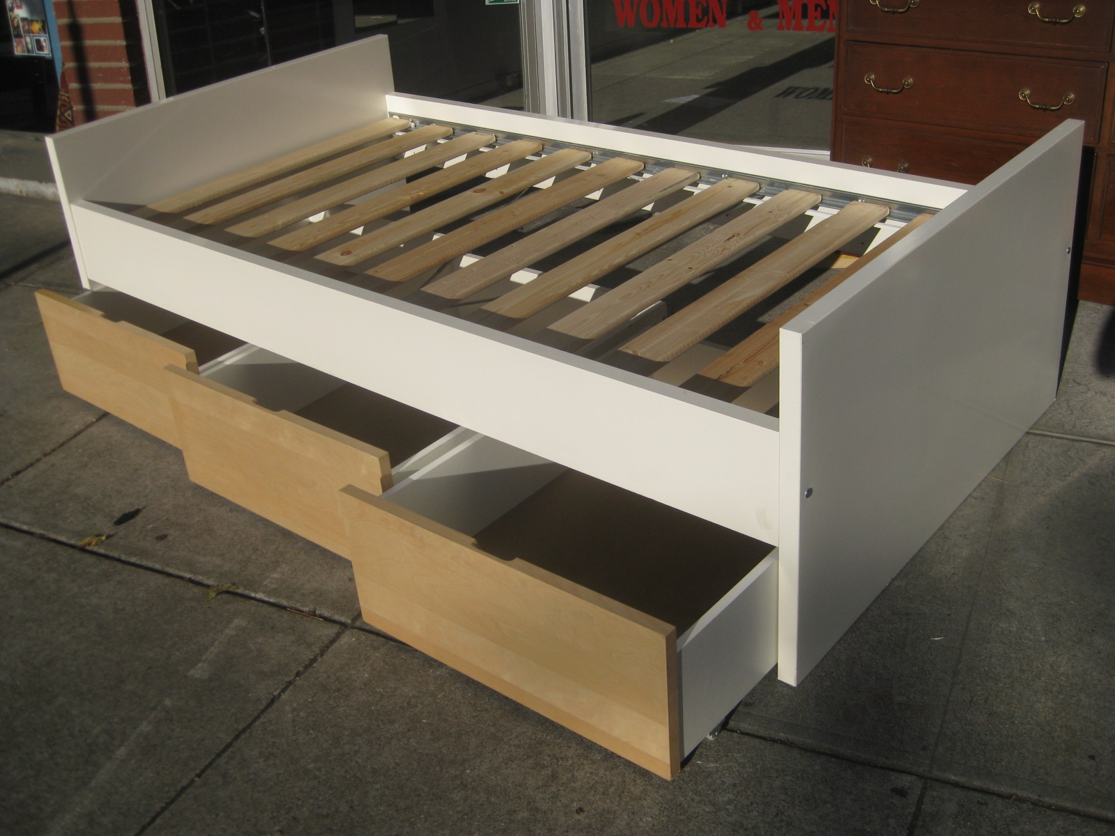 Beds with drawers underneath homesfeed for Make your own bed frame ideas