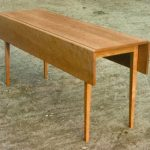 Unfinished Narrow Wooden Drop Leaf Table With Higher Legs