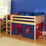 Unique loft bed IKEA for kid with under space camp and wooden stairs