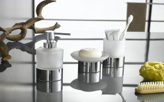 White And Metal Grey Of Bath Accessories Sets