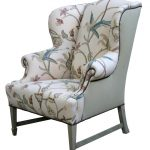 White Gray Floral Pattern Of Upholstered Wingback Chair