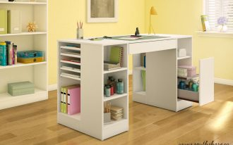 White Kids Work Table Witth Drawer And Shelves