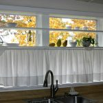 White Kitchen Half Window Curtains Near Sink