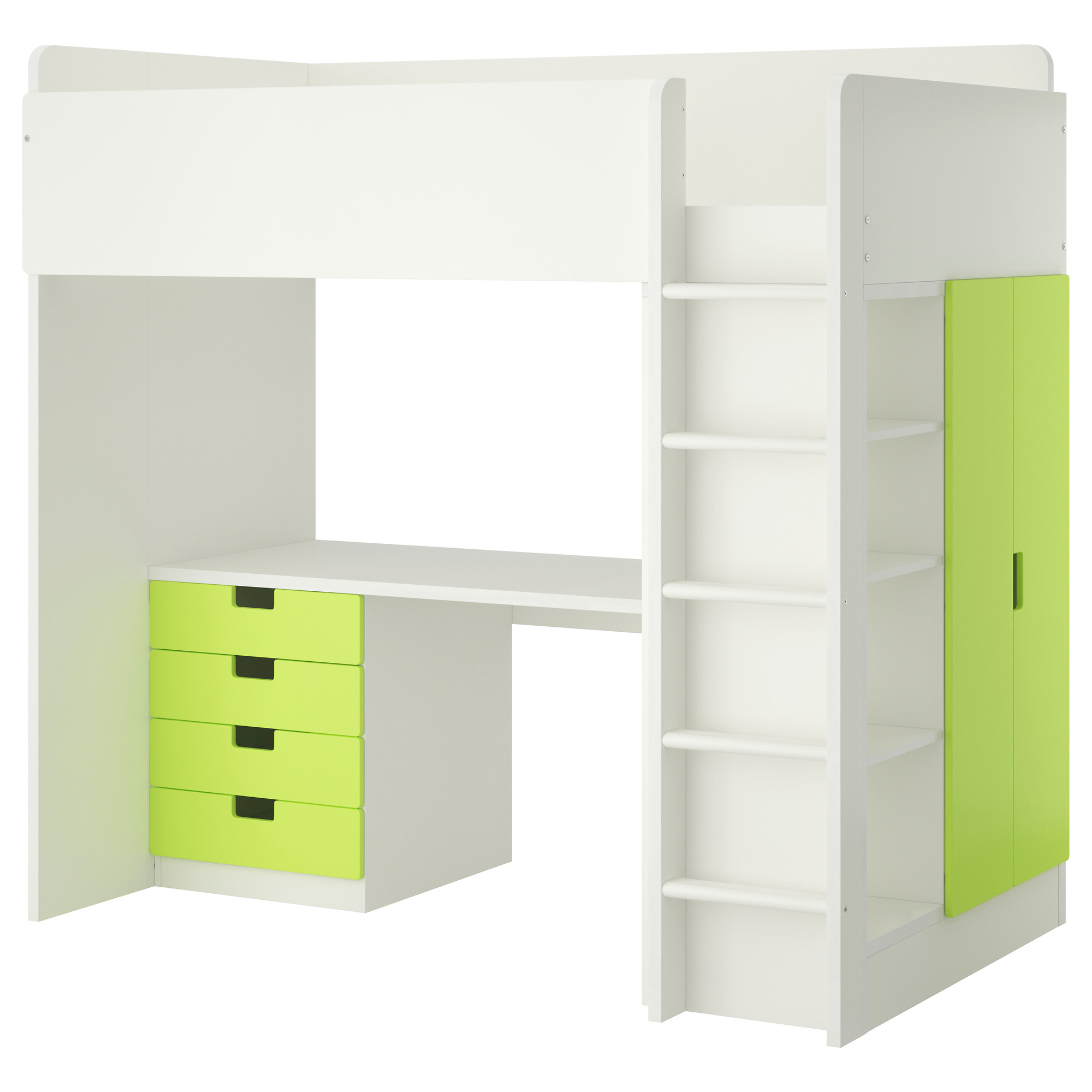 White Loft Bed Ikea With Green Storage Place
