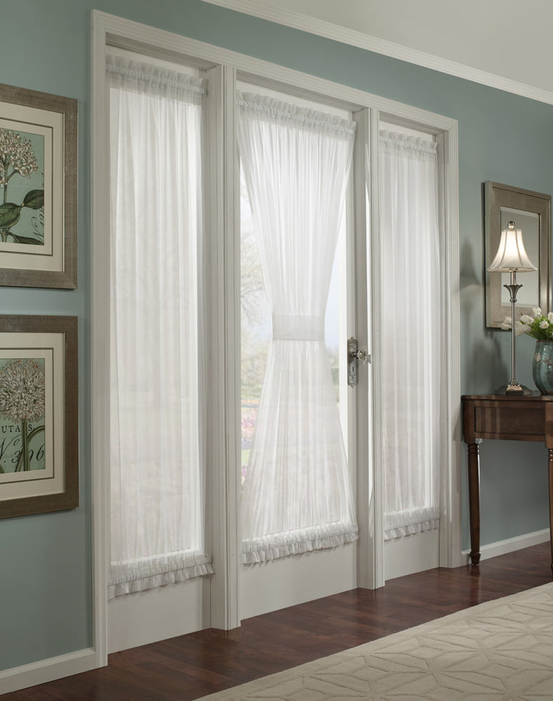 White Sidelight Window Curtains For Doors