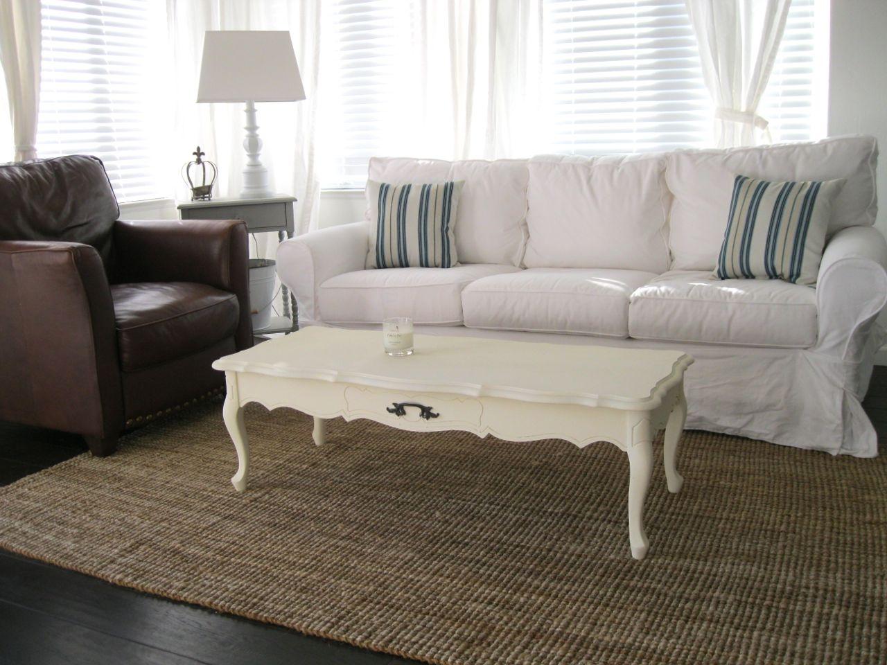 White Slipcovered Sofa For Nice Living Room Homesfeed