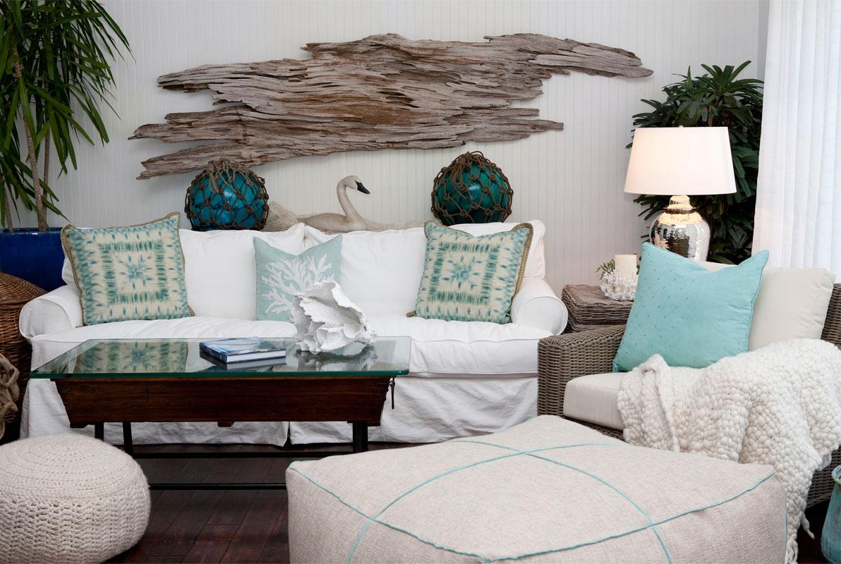 White Slipcovered Sofas With Coastal Theme