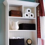 White Wooden Shelf Bathroom Storage For Towel With Beautiful Design