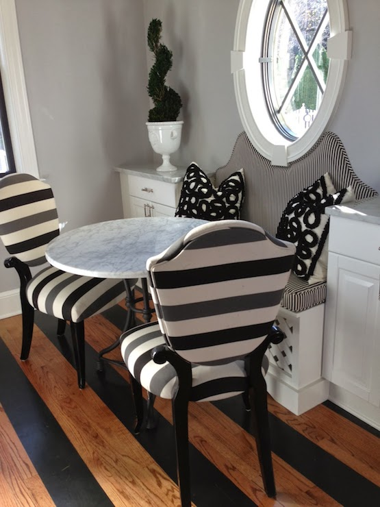 White Marble Bistro Table In Round Shape A Couple Chairs With Strip Pattern  White Bench With