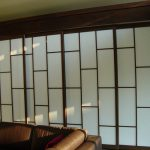 White shoji screen door idea with wood frame and trims
