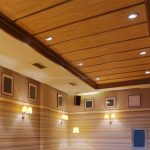 Wood Ceiling Planks Unique Design With Mini Lamps