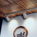 Wood Ceiling Planks With Wall Art
