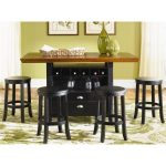 Wood top rectangular pub table with black painted wooden base wine bottle storage and twin drawers four series of round wooden bar stools in black