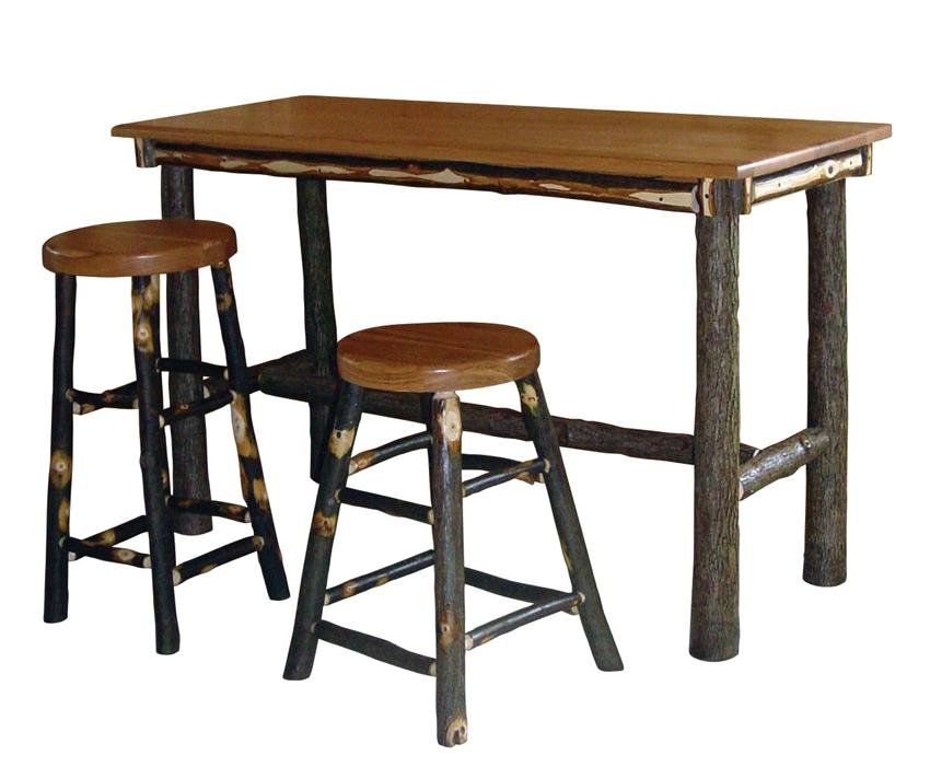 Wood Top Rectangular Pub Table With Smaller Tree Trunk Legs Two Units Of  Round Wood Backless