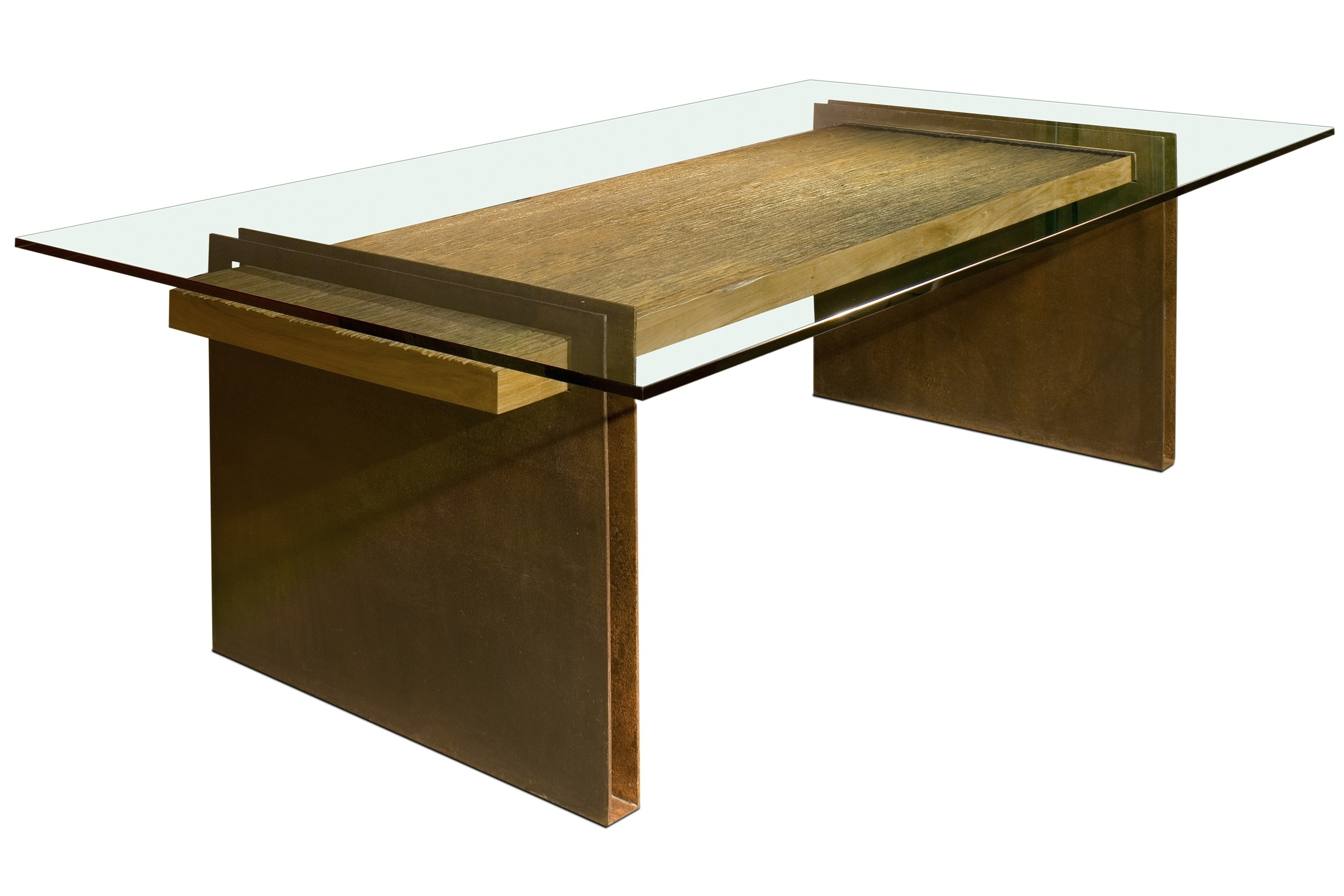 Wooden Dining Room Table With Rectangular Glass On Top