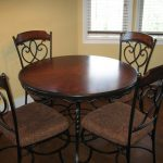 Wooden Round Wrought Iron Kitchen Table With Classic Chairs Style