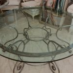 Wrought Iron Kitchen Round Table With Glass On Top
