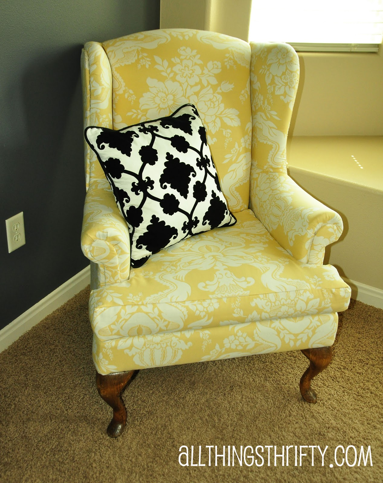 Bon Yellow White Design Pattern Of Upholstered Wingback Chair With Black White  Pillow