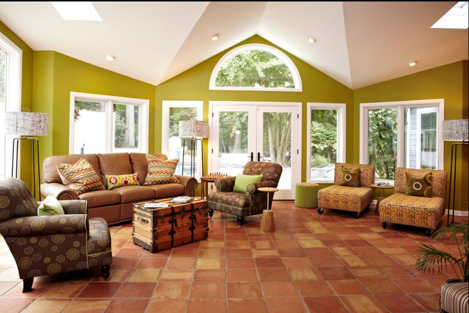 Beautiful A Transition Styled Living Room With Square Shaped Spanish Tile Flooring A  Pair Of Movable Chairs