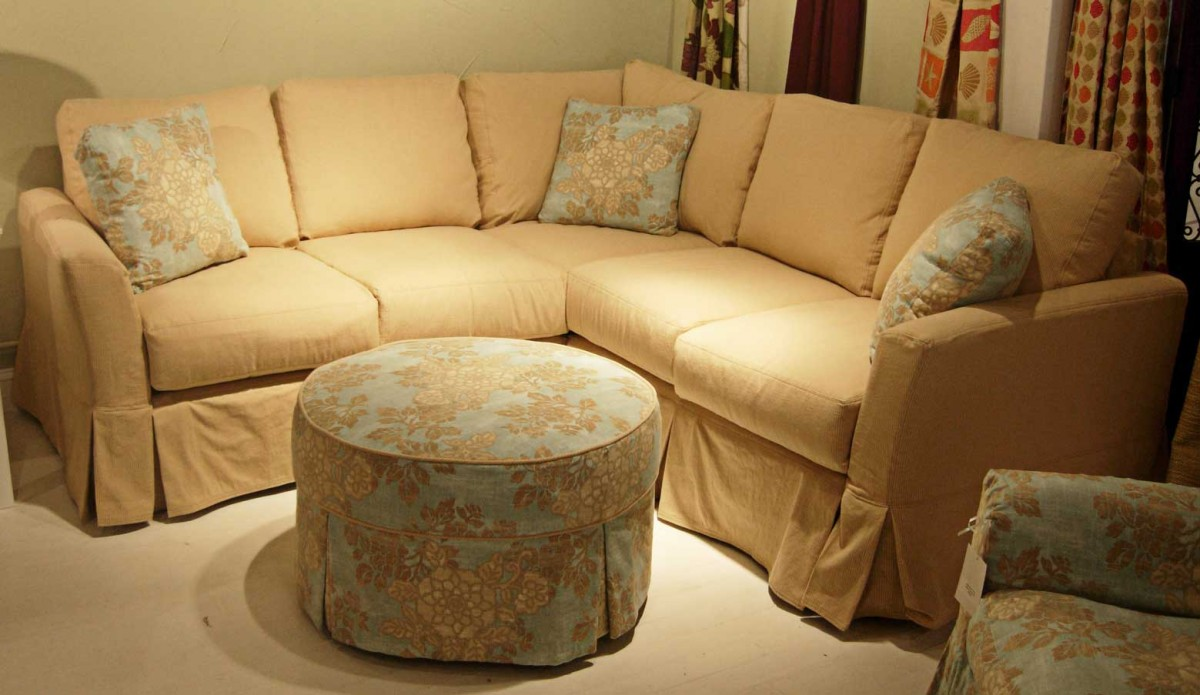 Admirable Custom Couch Covers With Brown Fabric Decorated Patterned Ottoman Cofee Table Plus Pretty Cushion
