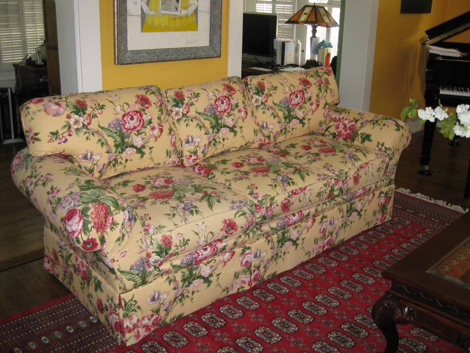 Admirable Custom Couch Covers With Floral Custom Couch Coversplus Red Area  Rug Plus Tradtional Wooden Table