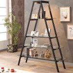 adorable a shaped modern ladder bookshelf idea with glass slots and gray painted wall and wall pictures and wooden floor and indoor plant