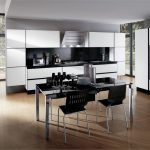 adorable black and white kitchen decor interior design with glass door and creamy flooring and white appliance and dining set