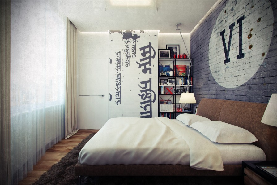 bachelor furniture. Adorable Garage Refined Bachelor Pad Furniture Idea With White Bedding And Navy Blue Brick Wall Accent