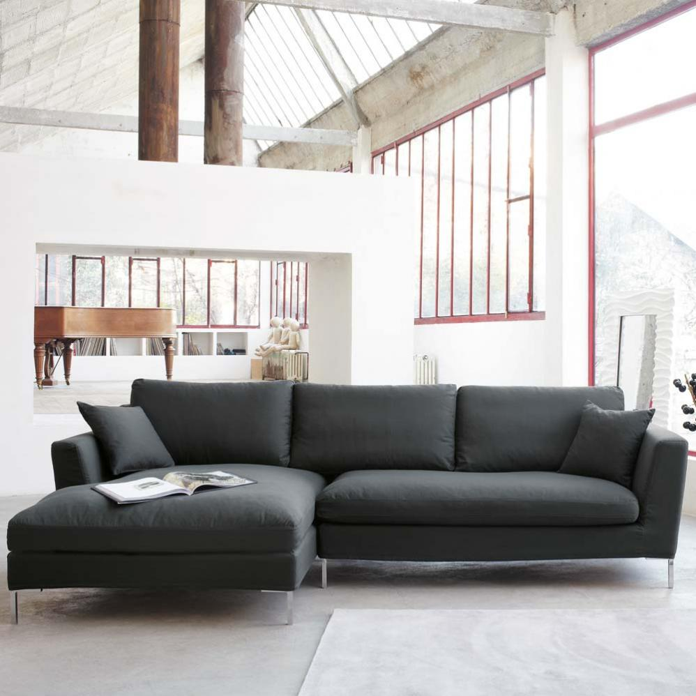 Adorable Gray Living Room Sofa Design With Chaise And Double Height  Interior With Glass Window For Part 96