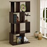 adorable modular like bookcase design in the living room in black color with creamy area rug and glass window with pottery