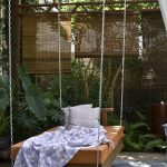 adorable outdoor best rated air mattress idea with prange color and soft blue sheet and pillow and chain suspension beneath wooden pergola