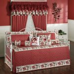 adorable sweet pink daybed design with floral pattern and polka dot decortaion with pillows and sheet and pink curtain with sleeve and pink white painted wall